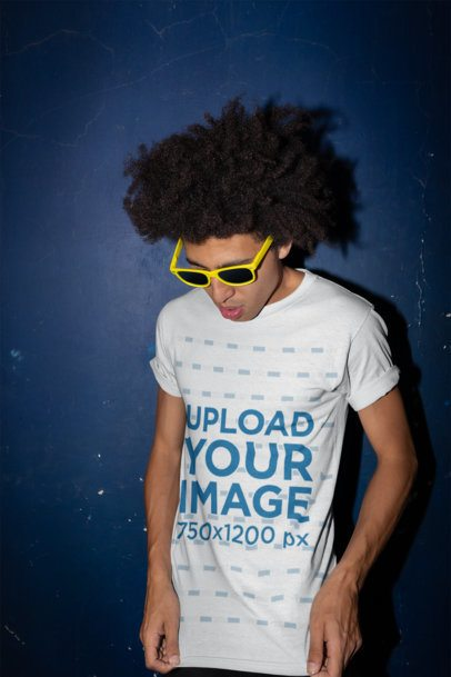 Round Neck Tee Mockup of a Man with an Afro and Sunglasses 22297