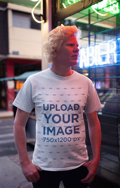 T-Shirt Mockup Featuring a Serious Man on the Street 22243