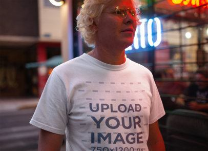 Closeup T shirt Mockup of a Man on the Street at Night 22244