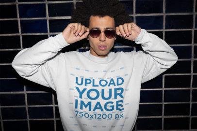 Sweatshirt Mockup of a Man with Heart-Shaped Glasses 22301
