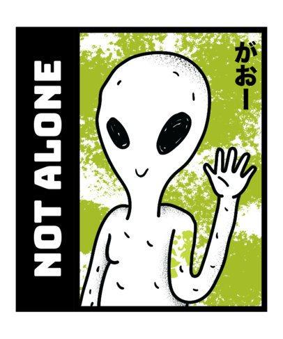 Alien T-Shirt Design Maker Featuring a Smiling Alien 14a