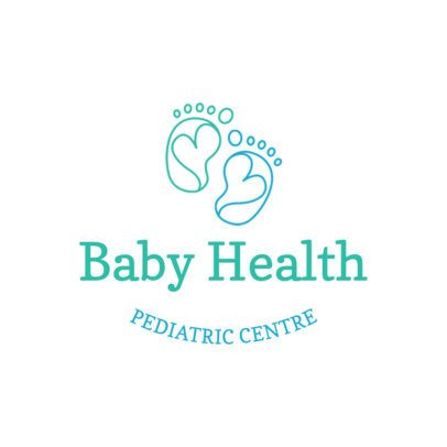 Pediatric Clinic Logo Template with Cute Baby Feet 1535c