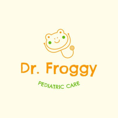 Pediatrician Logo Design Creator with Frog Graphics 1535d