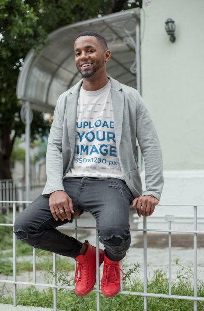 Round Neck Tshirt Mockup Featuring a Smiling Man with Colorful Shoes 22761
