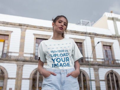 Tshirt Mockup Featuring a Girl on the Street 22958