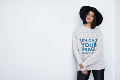 Stylish Sweater Mockup of a Woman Posing for the Camera 23104