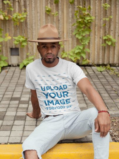 Mockup of a Fashionable Man Wearing a Round Neck Tee 22764