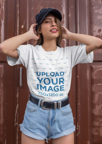 Round Neck T-Shirt Mockup Featuring a Woman with Denim Shorts and a Cowboy Belt 22954
