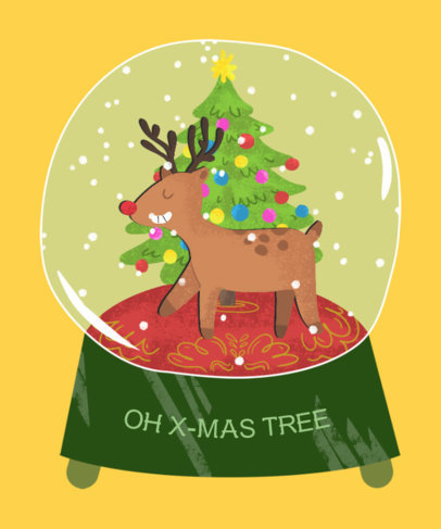 Christmas T-Shirt Design Template with Reindeer Graphics 833a