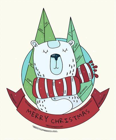 Christmas T-Shirt Design Template with Cute Polar Bear Graphics 839