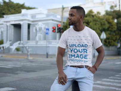 Mockup of a Casual Man Out and About Wearing a T-Shirt 22770