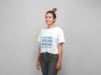 Mockup of a Woman with a Top Knot Wearing a Unisex Tee 22775