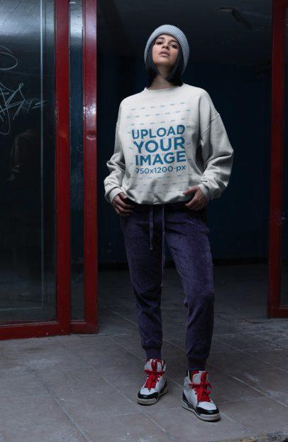 Sweater Mockup of a Woman Wearing Velvet Pants 23122
