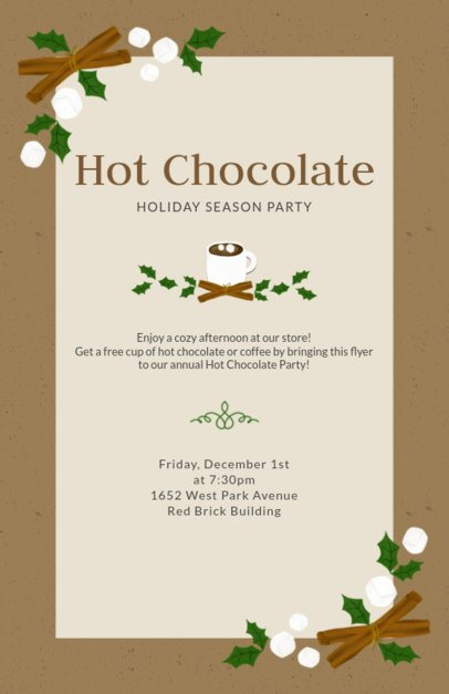 Flyer Template for Christmas with Cocoa and Marshmallow Graphic 841d