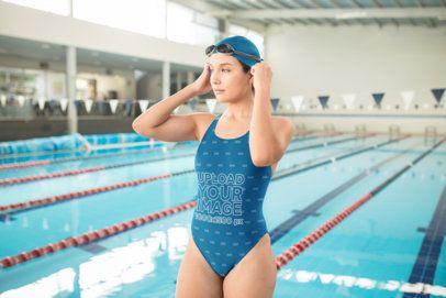 Swimwear Mockup of a Woman Getting Ready to Swim 23292
