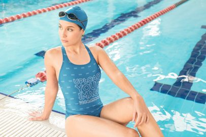 Mockup of a Sporty Woman Wearing a Swimsuit Posing Next to the Pool 23307