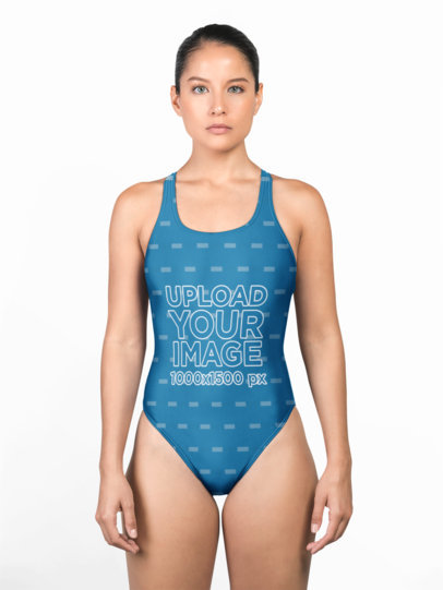 Swimsuit Front Mockup of a Woman at a Studio 23272