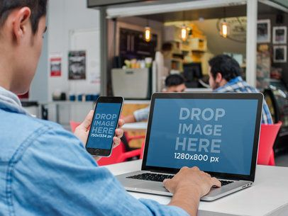 iPhone and Macbook Mockup of a Young Man at the Cafeteria a4635