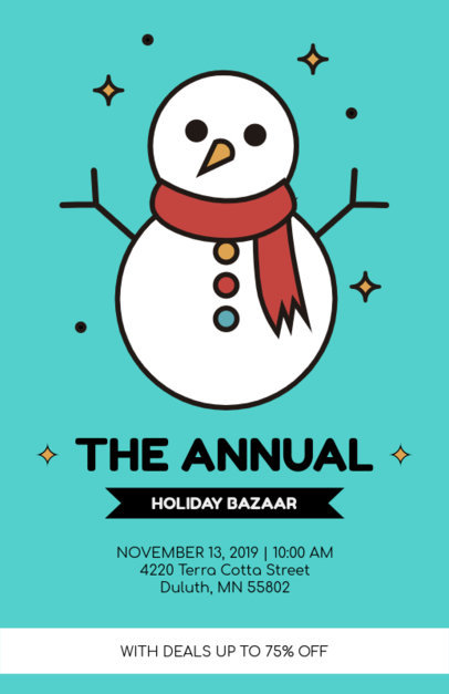 Xmas Bazaar Flyer Template with Snowman Graphics 861c
