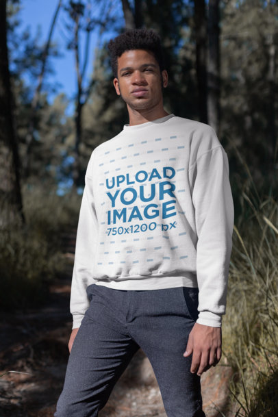 Mockup of a Crewneck Sweatshirt Worn by a Man Looking into the Camera 23175