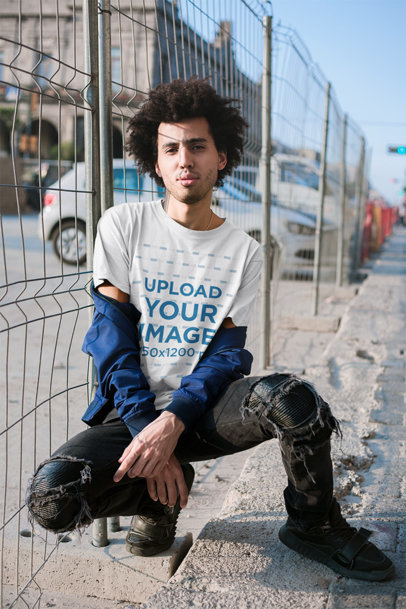 Mockup Featuring a Curly Haired Man with an Attitude Wearing A Tee 18083