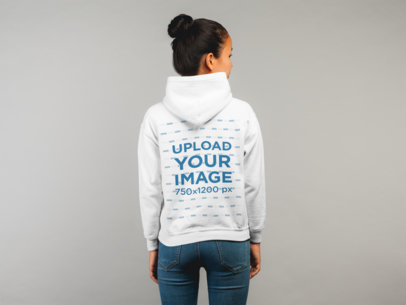 Back View Hoodie Mockup Featuring a Female Model in Plain Pose 21783