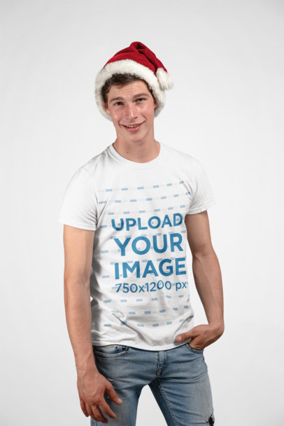 Christmas Mockup of Smiling Man Wearing a Tee in Studio 23897