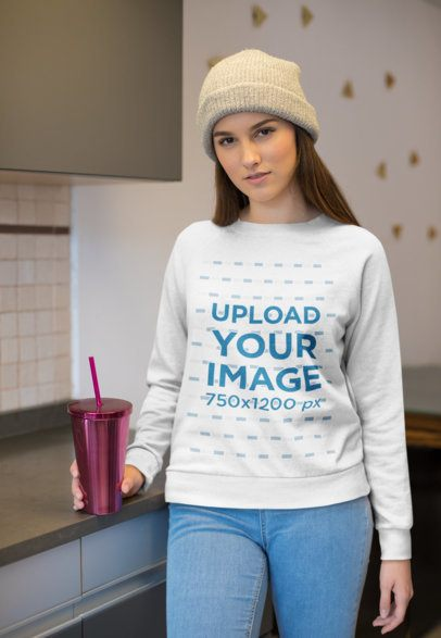Sweatshirt Mockup of a Trendy Woman Wearing Warm Clothes Indoors 23207