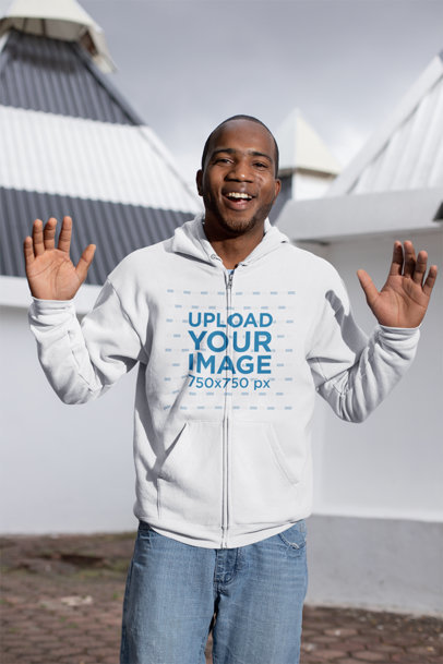Mockup of a Surprised Man Wearing a Zip-Up Hoodie 23397