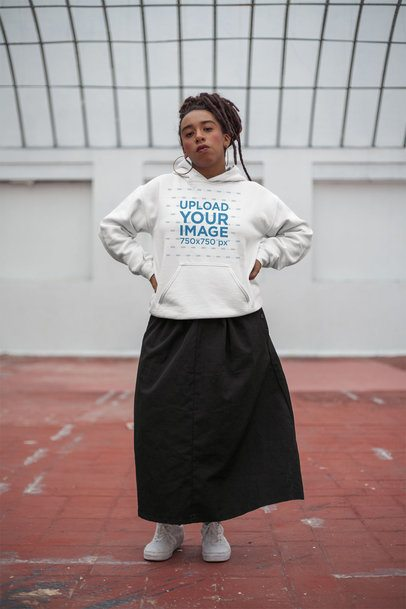 Mockup of a Girl with Locs Wearing a Pullover Hoodie 23422