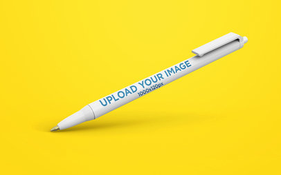 Pen Mockup Standing on Solid Background 23475
