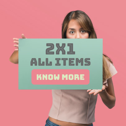 Web Banner Maker of a Surprised Woman Holding a Promotional Banner 872c