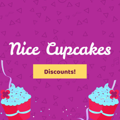 Banner Maker for a Cupcake Shop with a Colorful Background 383e