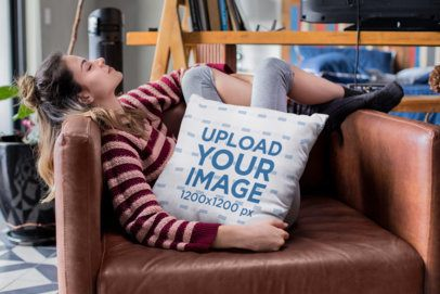 Pillow Mockup of a Woman Relaxing on Her Couch 23581