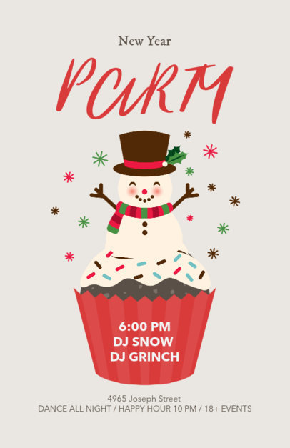 New Year Flyer Design Template with Frosted Cupcake 840b