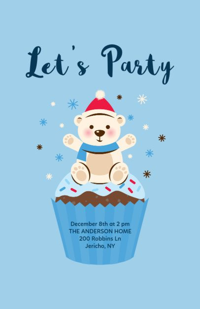 Christmas Flyer Template with Polar Bear Cartoon 840c