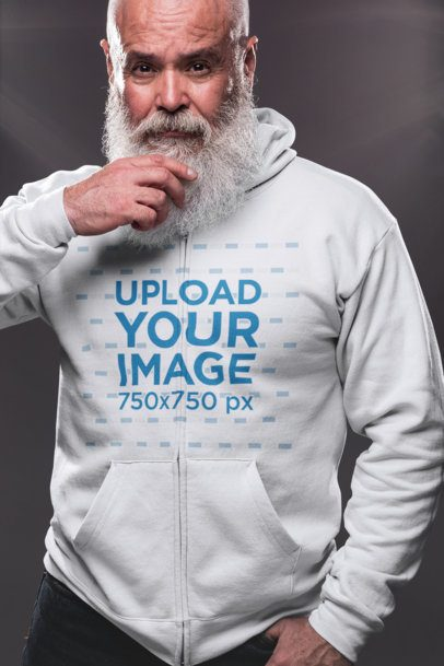 Full Zip Hoodie Mockup of a Senior Man with a Beard Looking into the Camera  23374