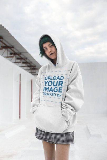 Pullover Hoodie Mockup of an Alternative Girl with a Gothic Style 23457