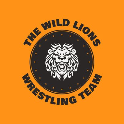 Wrestler Logo Maker for Wrestling Team with Lion Icon 1541e