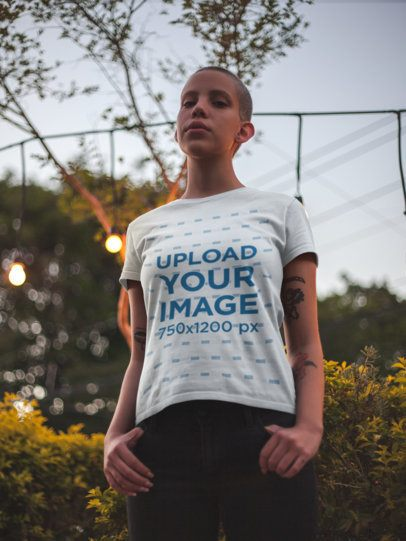 Tee Mockup of a Woman with a Buzz Cut Hairstyle 18132