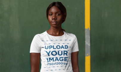 Sports Jersey Mockup of a Woman Looking into the Camera 23626