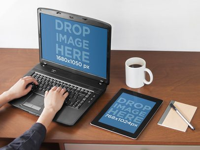 PC Laptop and iPad Mockup Template at a Creative Office a4922