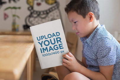 Book Mockup of a Little Kid Reading 23727