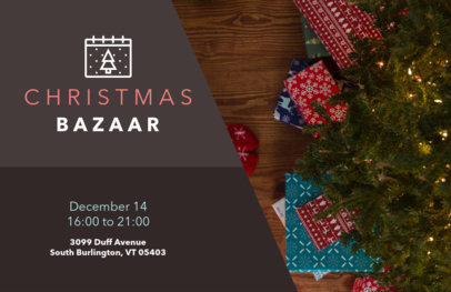 Horizontal Flyer Design Template for Xmas Bazaars 865c