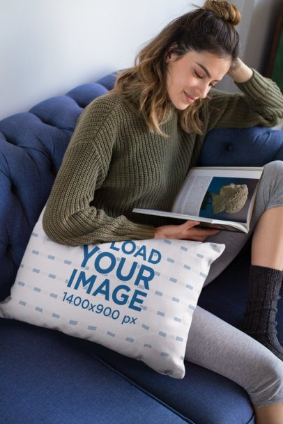 Pillow Mockup of a Woman Reading a Book 23576