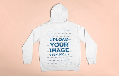 Flat Lay Mockup of the Back of a Pullover Hoodie Lying on a Surface 23849
