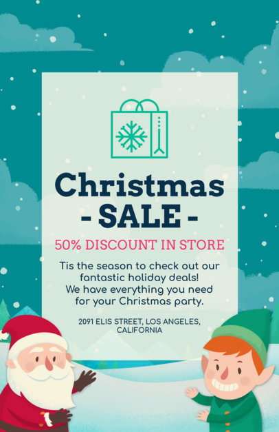 Christmas Sale Flyer Maker with Santa and Elf Graphics 852