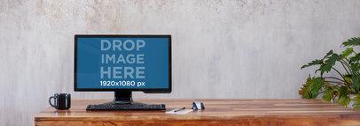 Mockup of a Black Desktop Computer at a Home Office a5033