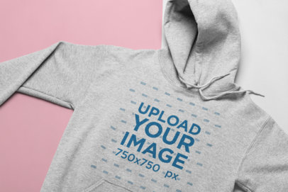 Heather Hoodie Mockup Lying on a Two Color Background 24267