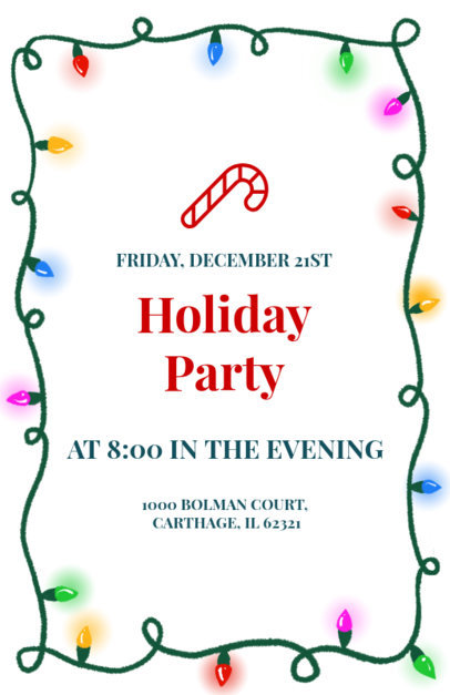 Holiday Party Flyer Creator with a Christmas Lights Frame 845e
